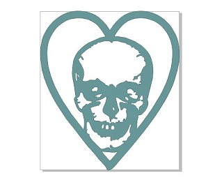Heart with skull 44x50mm pack of 10