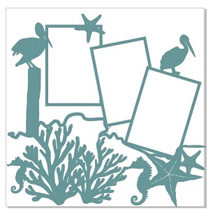 seaside multiframe starfish seahorse pelican  12 x 12 made in Au