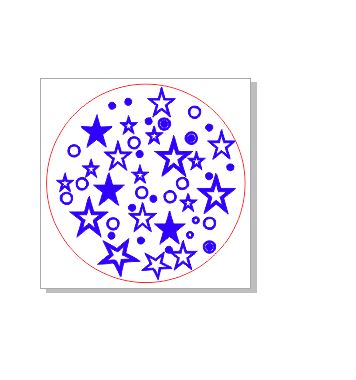 Stars dots stamp 37 x 37.mm round  Rubber only