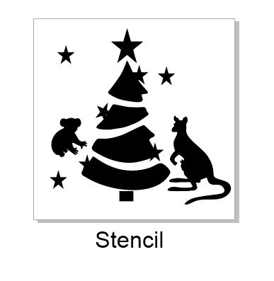 Aussie Christmas stencil available in various sizes via drop dow