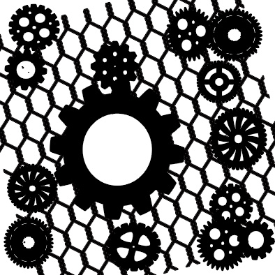 Cogs on wire 12 x 12 inches  min buy 3