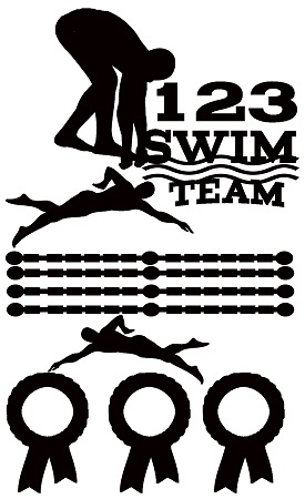Swim team  110 x 180mm    swimming team carnival, Min buy 3
