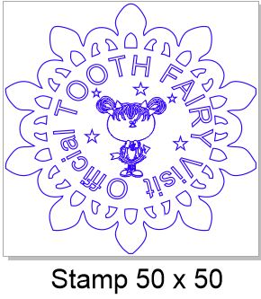 Tooth fairy stamp 50 x 50mm, Rubber only,