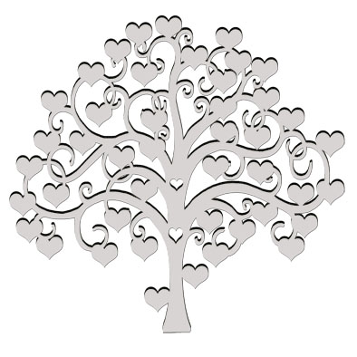 Heart signature tree chipboard (card board, can be painted inked