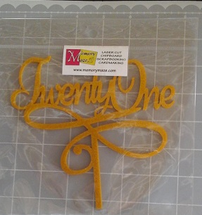 Twenty one gold glitter Acrylic  Cake Topper