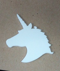 Unicorn White Acrylic , Pk4 - 65 x 55 Brooch pak 4) (earings pk1