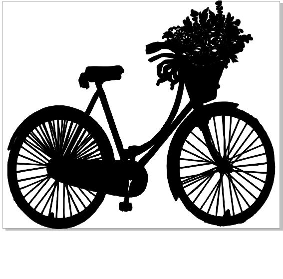 Vintage Bicycle and basket of flowers  150 x 120  sold in 3\'s