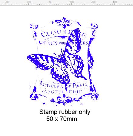 Vintage butterfly stamp 50 x 60 mm.