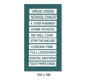 Virus -Crisis Engraved tabs 100 x 180mm Min buy 3
